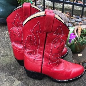 Masterson Boot Company red leather western boots
